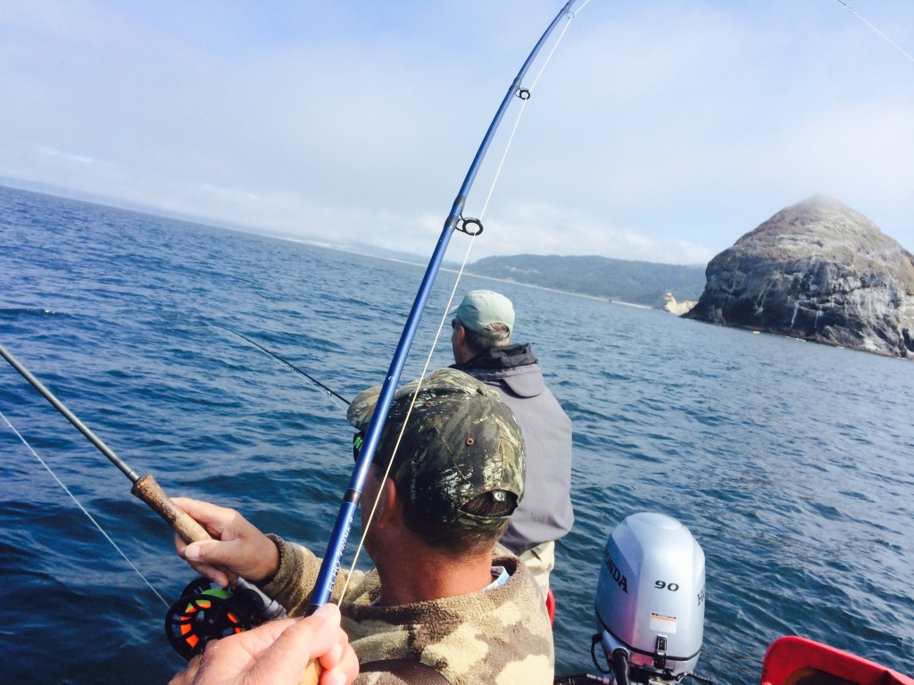 Silvers tripple on bucktails at pacific city the caddis for Ocean fishing oregon