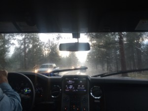 Rain, hail, and lightning, mid-storm on our way home from the Trout Creek take out.