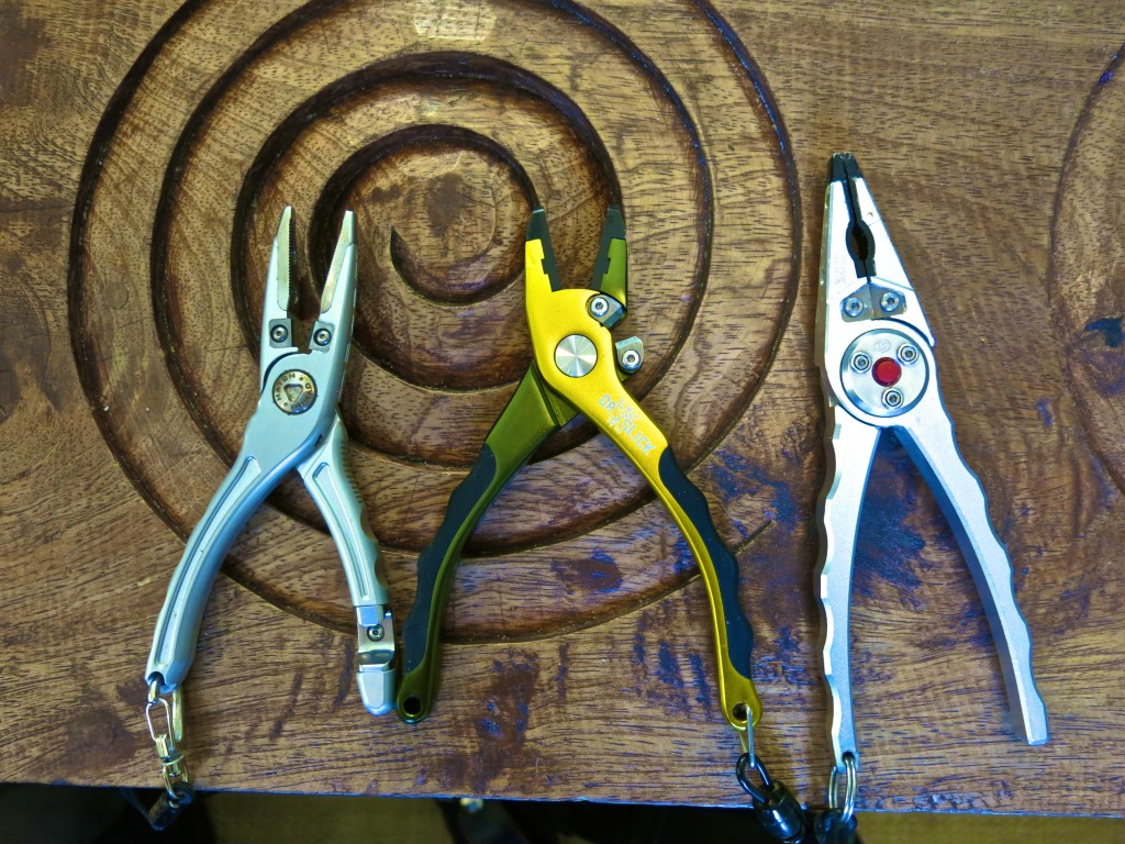 Left to right - Hatch, Dr. Slick Typhoon, and Streamworks Night Hawk fishing pliers.