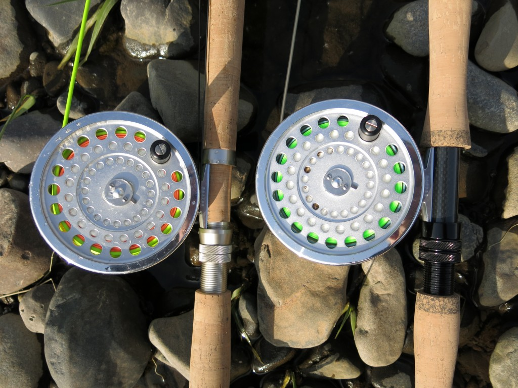 ECHO GLASS Two Hand and Dec Hogan II spey rods, with Hardy Marquis reels.