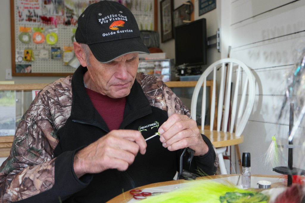 Jack Harrell at the vise at his shop in Pacific City.