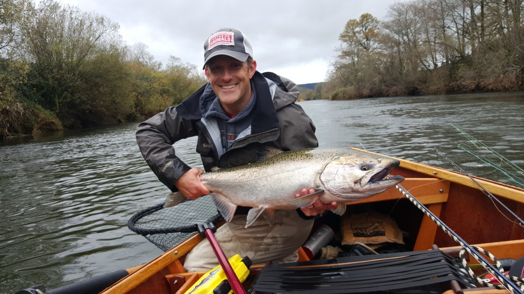 Rob Perkin with a very fine wild Oregon king salmon.  Note the hook scar aft of the maxillary, reminder of the ocean fishery.