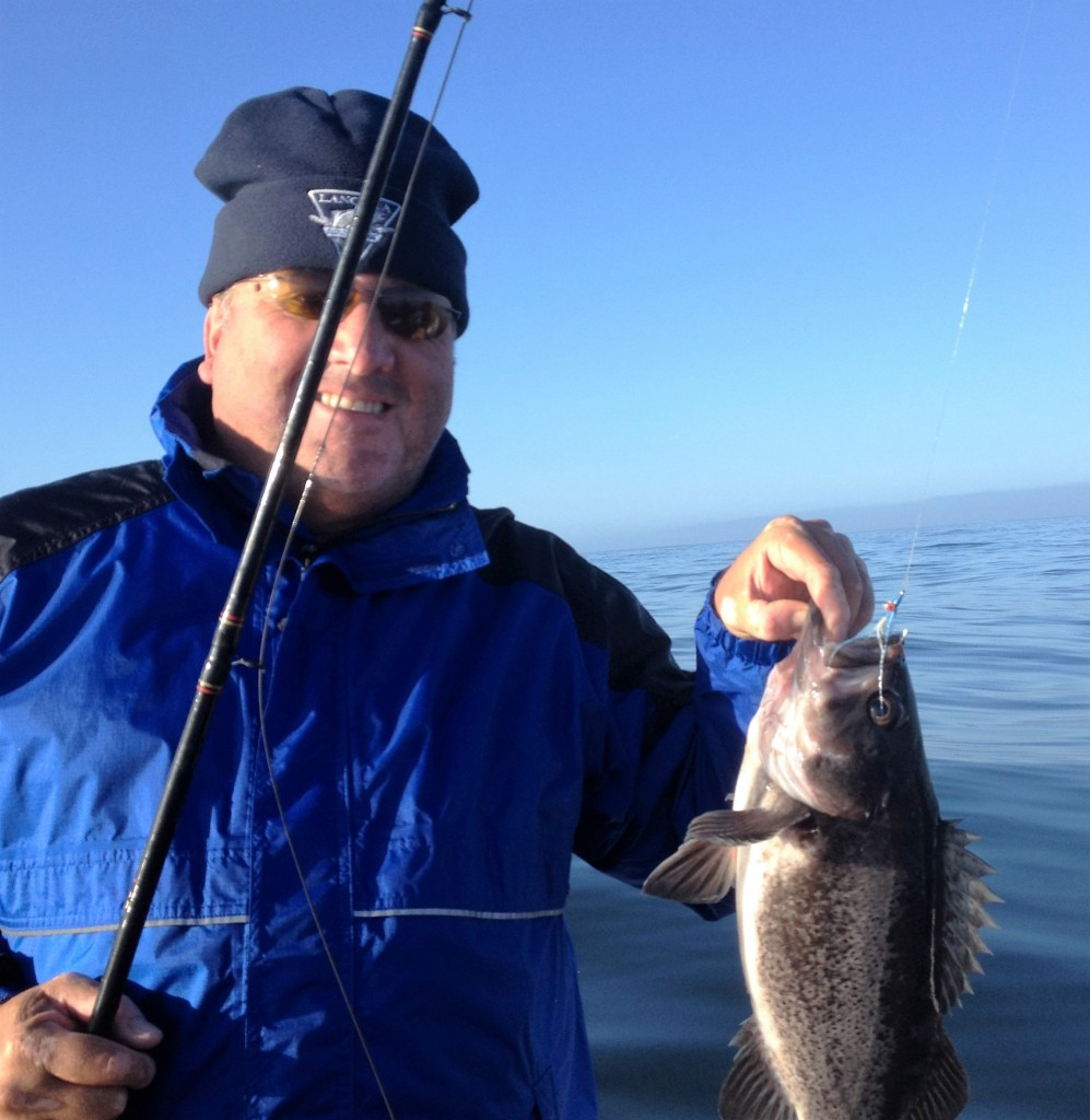 Tom shows off a nice black bass.