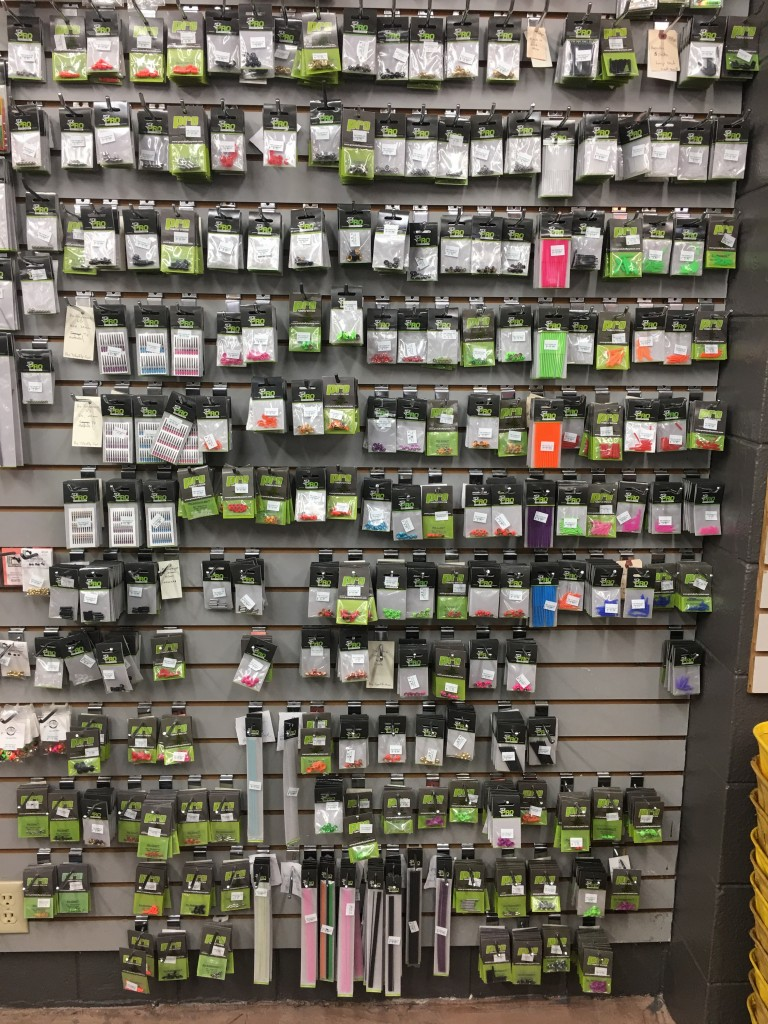 Here is the wall of ProSportfisher tube components in the Caddis Fly Shop. A dizzying inventory for even the most seasoned tube fly tyer.