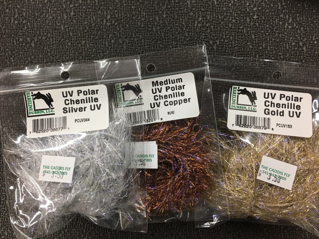 "Three colors of Hareline UV Polar Flash -- another excellent option for creating ""flash hackles on steelhead and salmon flies."