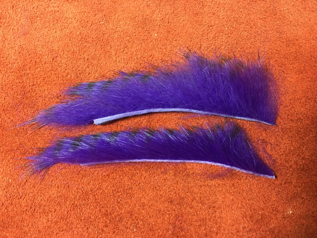The upper rabbit strip was cut from the left end (rump) and the lower strip was cut from the right end (shoulder) of the rabbit strips.