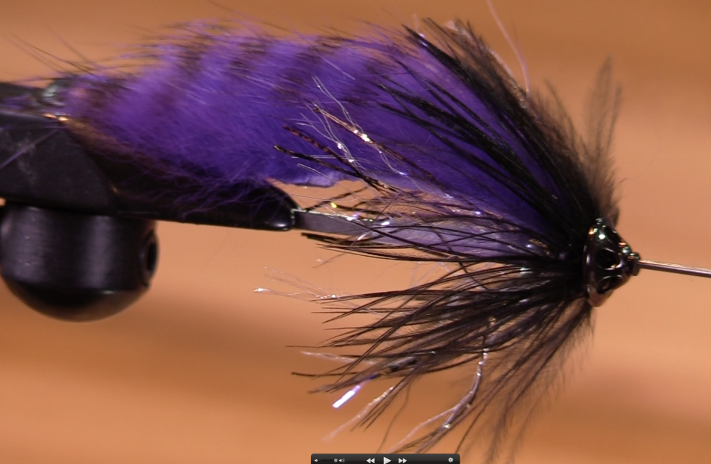 Purple & Black Rabbit Strip Tube Fly by Nicholas 2017