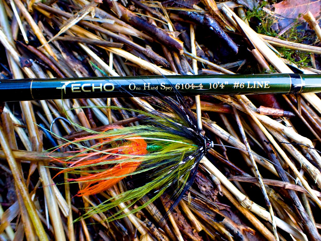 Echo OHS 7 wt. and Olive Tube Steelhead Fly.