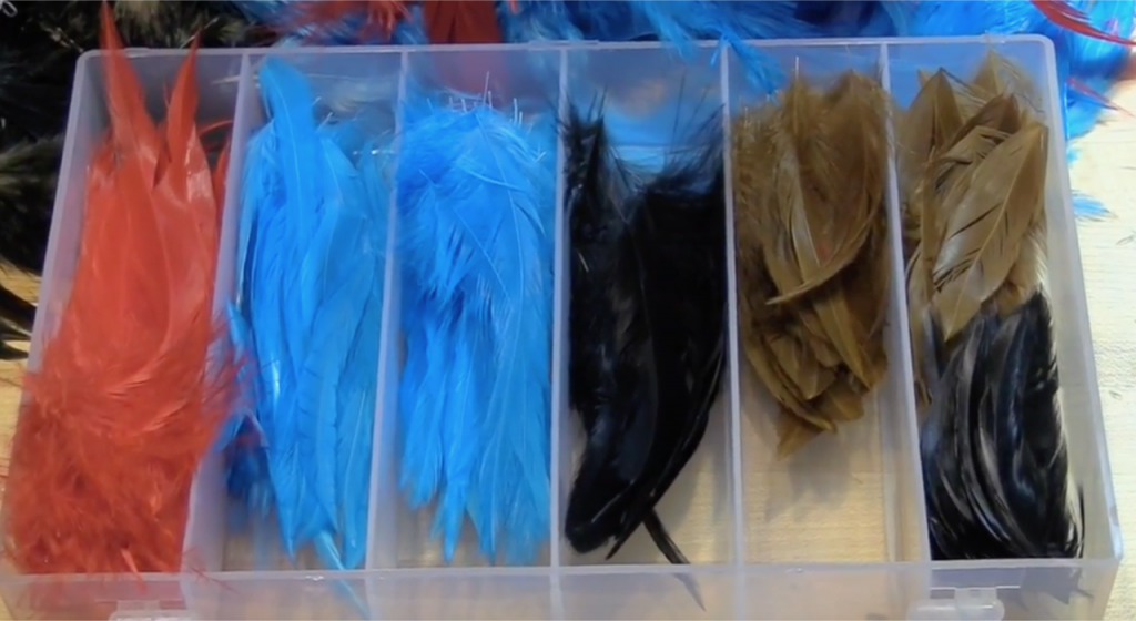 This is an example of how I store pre-sorted saddles and schlappen feathers.