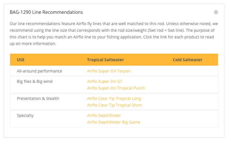 Official AIRFLO line recommendations.