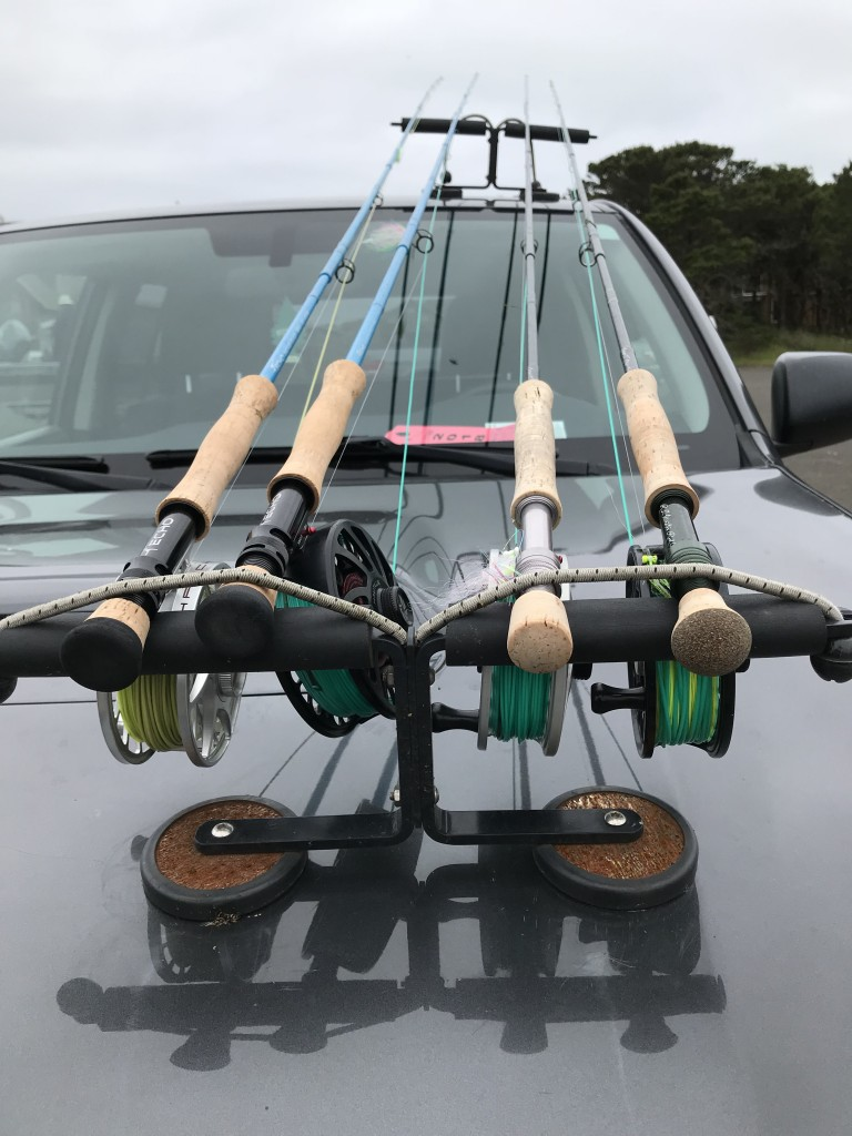 ECHO Bad Ass Glass fly rods on left, loaded and ready to fish.