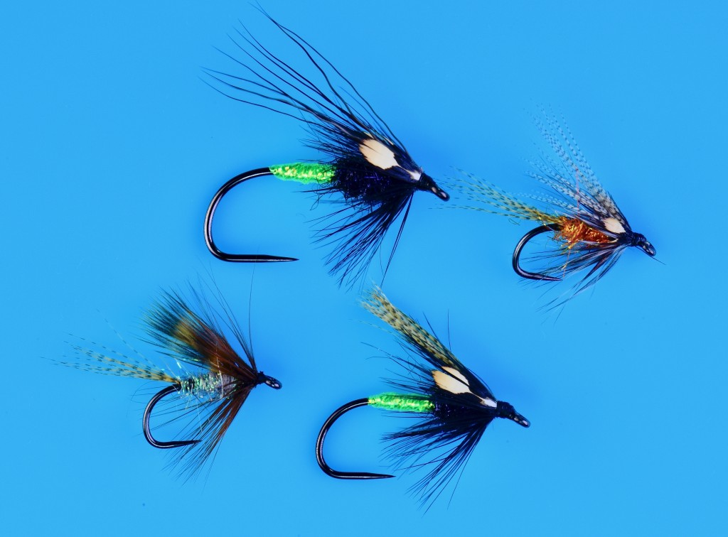 Several wet flies tied for sea run cutthroat and summer steelhead on  AFW 581 Barbless Wet Fly hooks.