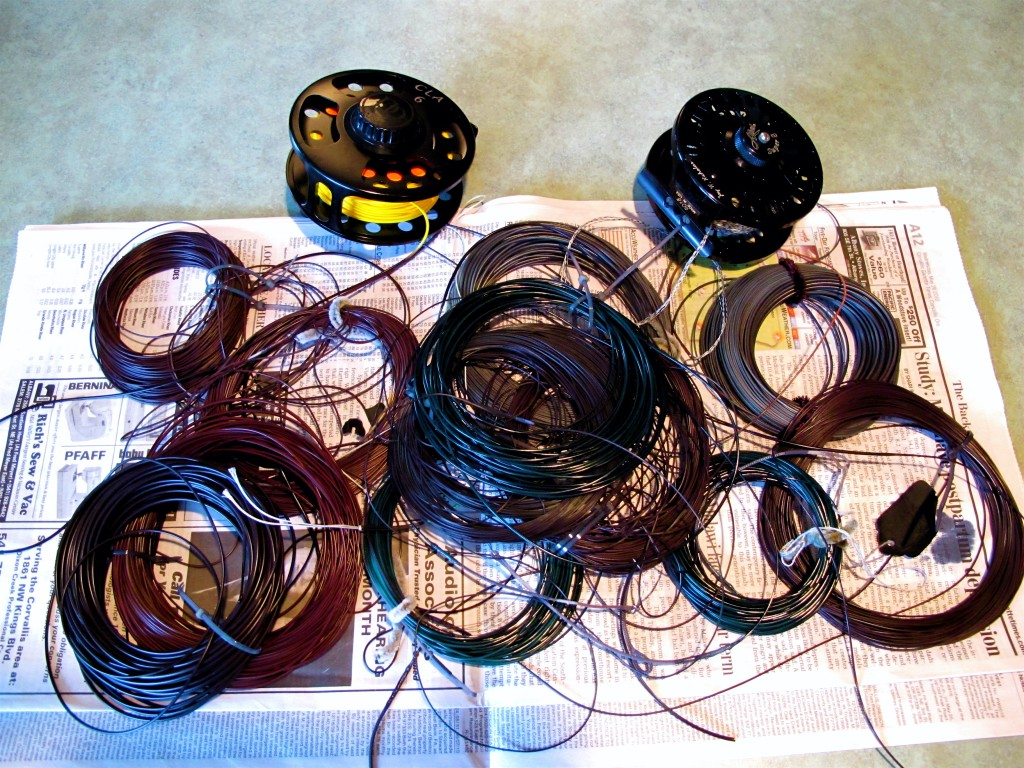 These fly lines were the subject of my best efforts to impress a different color than the manufacturer intended. Some are SA lines. Some are Airflo Lines. My dye of choice was and will always be Rit All Purpose  Dye.